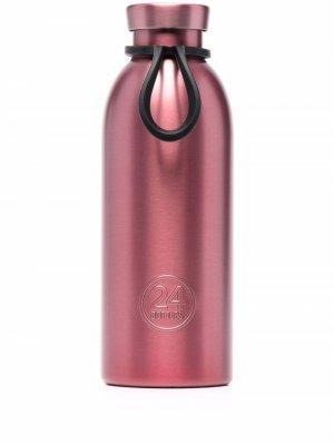Металлическая бутылка с тисненым логотипом 24bottles. Цвет: розовый