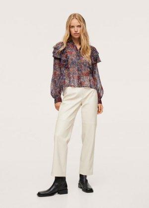Блузка с принтом и воланами - Inma Mango. Цвет: черный