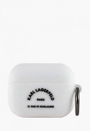 Чехол для наушников Karl Lagerfeld Airpods Pro, Silicone case with ring RSG logo White. Цвет: белый