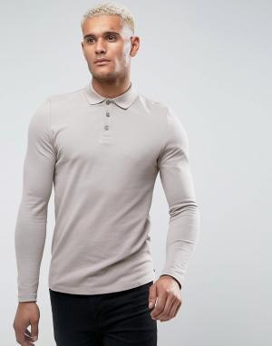 Серый обтягивающий лонгслив-поло из ткани пике ASOS DESIGN. Цвет: бежевый