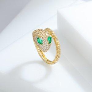Кольцо 14K позолоченный с цирконом в форме змеи SHEIN. Цвет: золотистый