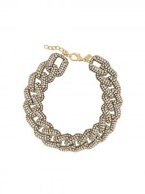 Ожерелье с кристаллами Moschino. Цвет: золотистый