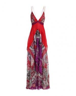 Длинное платье ROBERTO CAVALLI. Цвет: красный