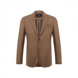 Шерстяной пиджак BOSS. Цвет: бежевый