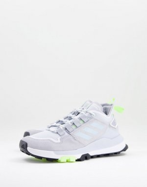 Серебристые низкие кроссовки для пешего туризма adidas Outdoors Terrex Hikster-Серебристый performance