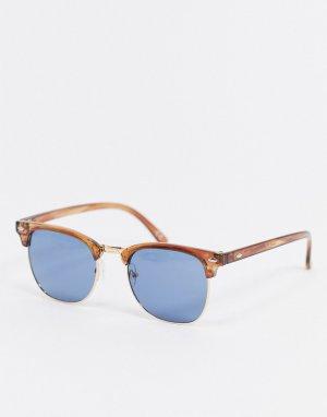 Солнцезащитные очки в стиле ретро черепаховой оправе со светло-синими линзами -Коричневый цвет ASOS DESIGN