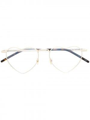 Очки с оправой в форме сердца Saint Laurent Eyewear. Цвет: серебристый