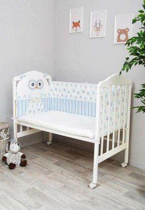 Бортик для детской кровати Сонный Гномик Софушки. Цвет: белый