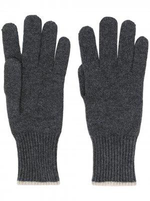 Кашемировые перчатки с контрастной отделкой Brunello Cucinelli. Цвет: серый
