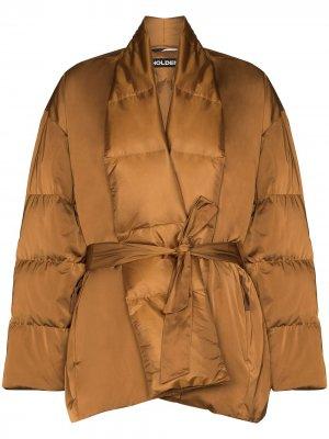 Стеганая куртка с поясом Holden. Цвет: коричневый