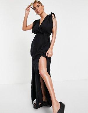 Черное пляжное платье макси из переработанных материалов со сборками коллекции Fuller Bust -Черный цвет ASOS DESIGN