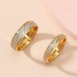 2шт влюбленных минималистичный Кольцо SHEIN. Цвет: золотистый