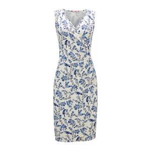 Платье-миди в форме каш-кер с цветочным рисунком JOE BROWNS. Цвет: белый/ синий