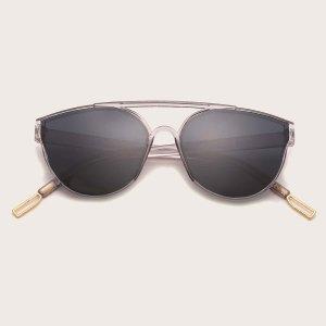Мужские солнцезащитные очки в геометрической оправе SHEIN. Цвет: серый