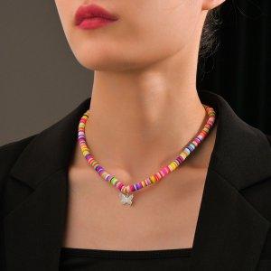 Ожерелье с бабочкой SHEIN. Цвет: многоцветный