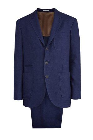 Костюм в неаполитанском стиле из льна с накладными карманами BRUNELLO CUCINELLI. Цвет: синий