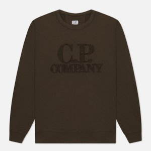 Мужская толстовка Light Fleece Mixed Garment Dyed Chest Logo C.P. Company. Цвет: оливковый