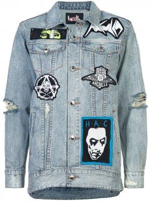 Джинсовая куртка с пэтчами потертостями Haculla. Цвет: синий