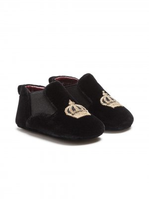 Бархатные слиперы с нашивкой Dolce & Gabbana Kids. Цвет: черный