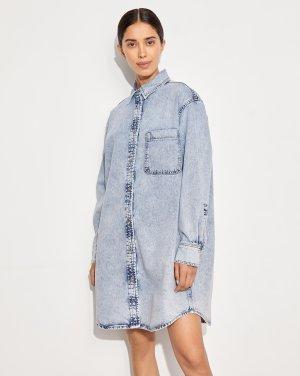 Джинсовое платье-рубашка 12STOREEZ. Цвет: светло-голубой