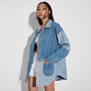 Контрастная джинсовая куртка SHEIN. Цвет: многоцветный