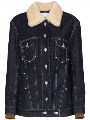 Джинсовая куртка с меховым воротником Chloé. Цвет: синий