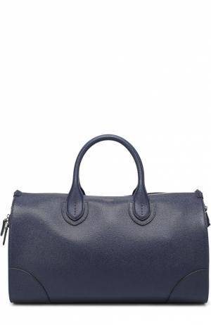 Кожаная дорожная сумка Bertoni. Цвет: темно-синий