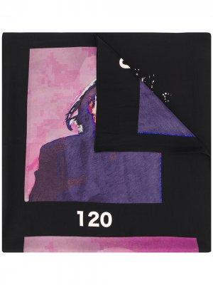 Платок с графичным принтом Yohji Yamamoto. Цвет: черный