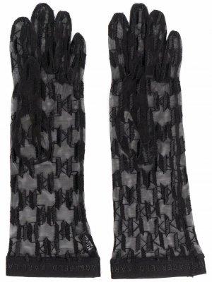 Прозрачные перчатки K/Monogram Karl Lagerfeld. Цвет: черный