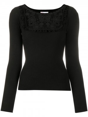 Broderie anglaise knitted top RedValentino. Цвет: черный