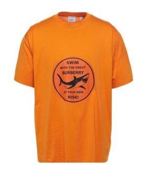 Футболка BURBERRY. Цвет: оранжевый
