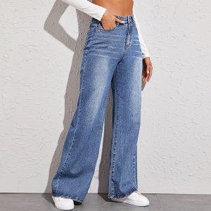 Широкие джинсы SHEIN. Цвет: синий