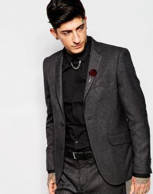 Серый пиджак из костюмного шелка Devils Advocate. Цвет: серый
