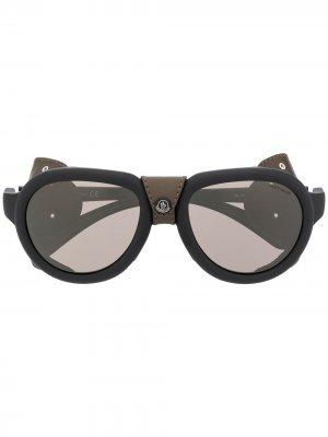Декорированные солнцезащитные очки Moncler Eyewear. Цвет: черный