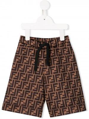 Спортивные шорты с логотипом FF Fendi Kids. Цвет: коричневый