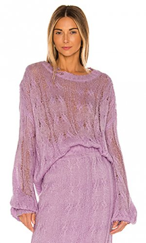 Пуловер ripped KENDALL + KYLIE. Цвет: бледно-лиловый