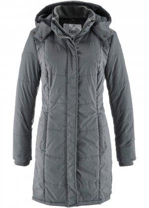 Утепленная стеганая куртка bonprix. Цвет: серый