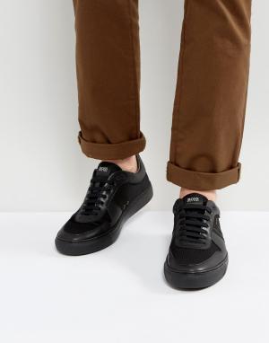 Кроссовки из неопрена и кожи by Hugo Boss Green. Цвет: черный