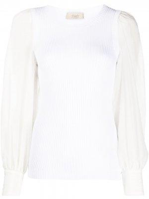 Блузка в рубчик с длинными рукавами Maison Flaneur. Цвет: белый