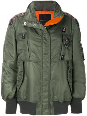 Куртка-бомбер с вышивкой Ermanno Scervino. Цвет: зелёный