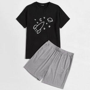 Мужская пижама с графическим принтом SHEIN. Цвет: многоцветный