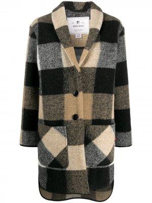 Клетчатое пальто-кардиган Woolrich. Цвет: нейтральные цвета