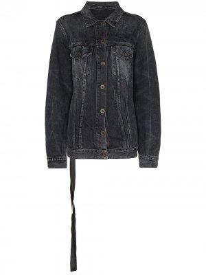 Джинсовая куртка из вареного денима UNRAVEL PROJECT. Цвет: черный