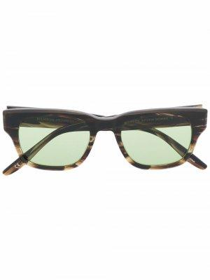 Солнцезащитные очки черепаховой расцветки Barton Perreira. Цвет: зеленый