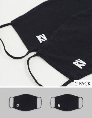 Набор из 2 черных масок для лица с логотипом -Черный Reclaimed Vintage