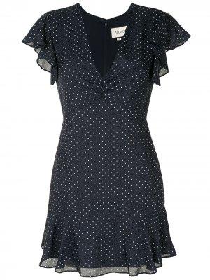 Платье в горох с V-образным вырезом Alexis. Цвет: синий