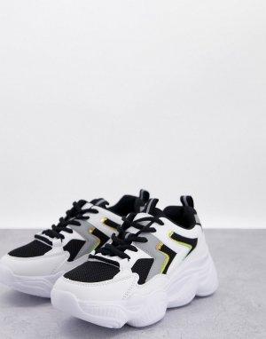 Кроссовки белого и черного цветов в стиле спортивных беговых на массивной подошве -Черный цвет Truffle Collection