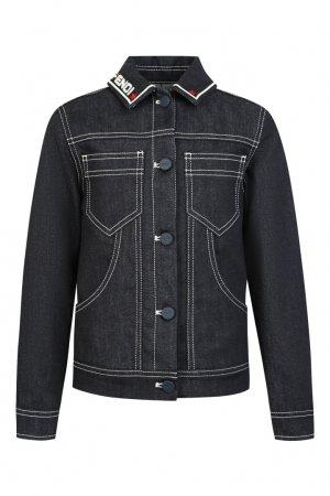 Темно-синяя джинсовая куртка Fendi Kids. Цвет: синий