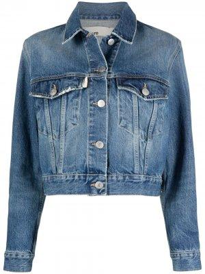 Джинсовая куртка с эффектом потертости Haikure. Цвет: синий