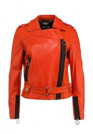 Куртка кожаная Just Cavalli. Цвет: оранжевый